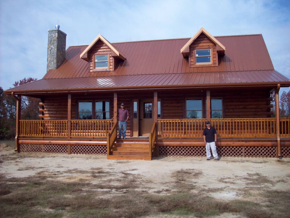 Log home with basement custom log cabin builder nc va for Log cabin with walkout basement